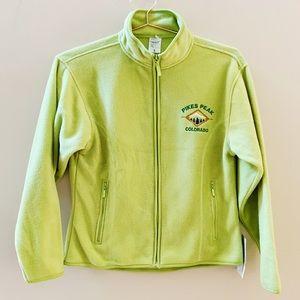 Pikes Peak CO logo fleece zip up green